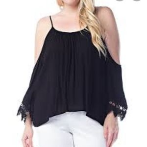 BCX Black Bell Sleeve Cold Shoulder Top size Small